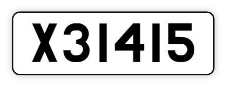 Gammal registreringsskylt med regnr. X31415