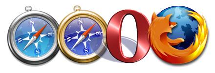 Ikoner av Safari, Webkit, Opera och Firefox