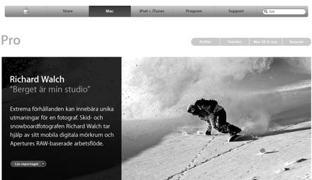 Skärmdump av Apples professionella avdelning