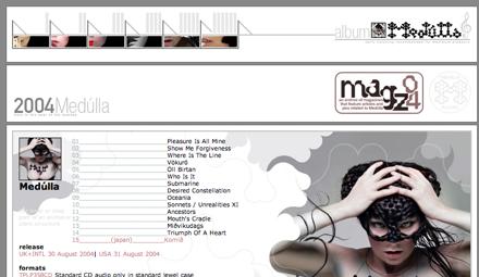 Skärmdump av Björks sajt