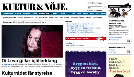 Skärmdump av Dagens nyheter - Kultur